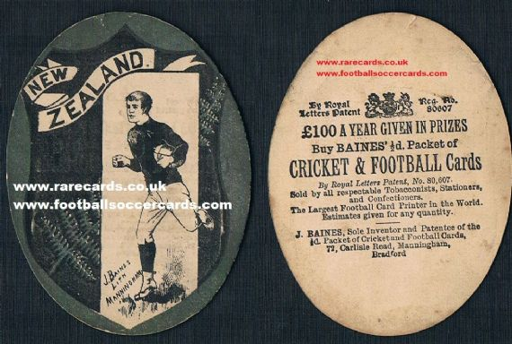1890s New Zealand All Blacks Baines rugby